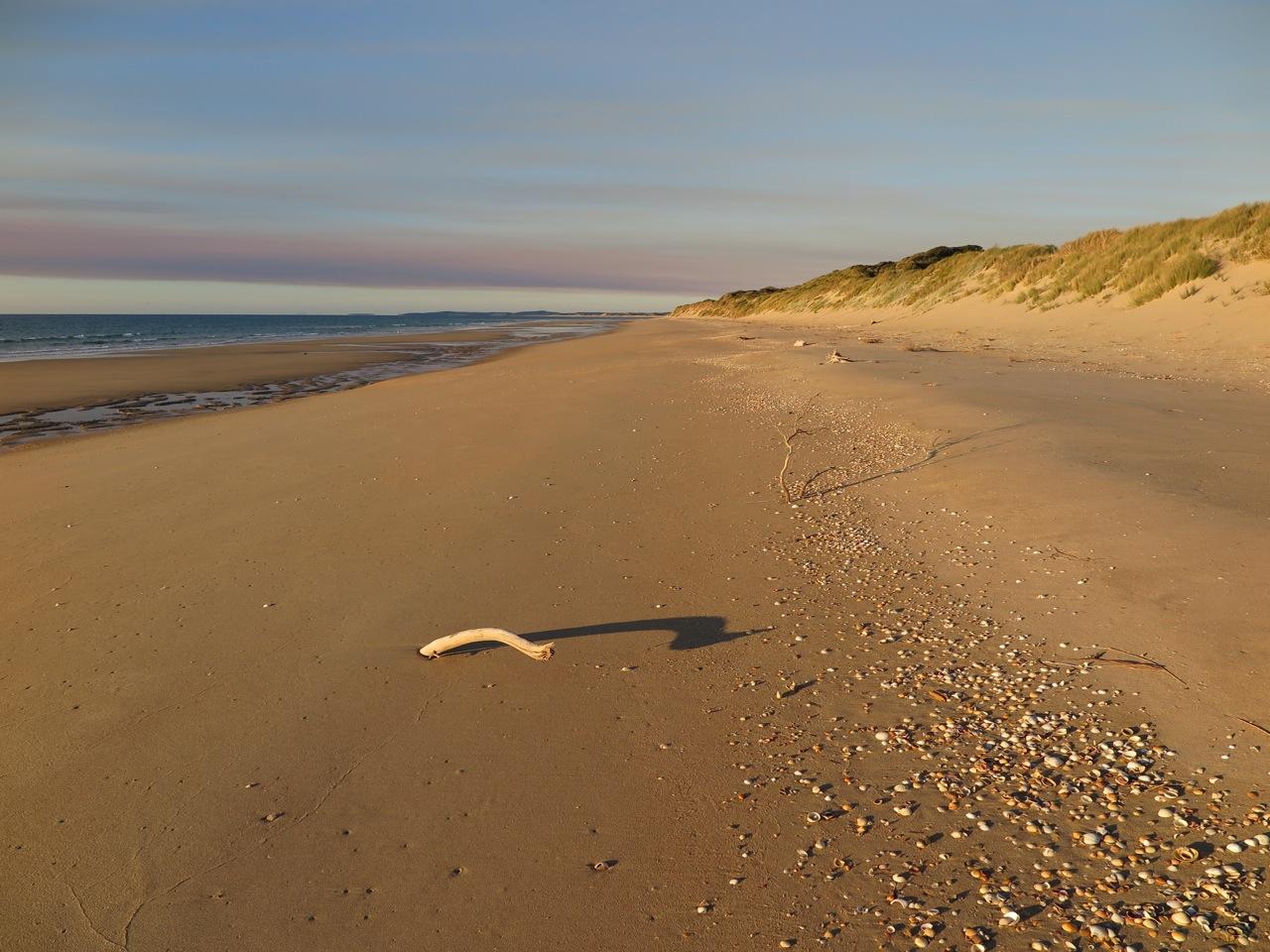 Abstecher nach Loch 15 von Lost Farm: Der leere Strand hinter den Dünen