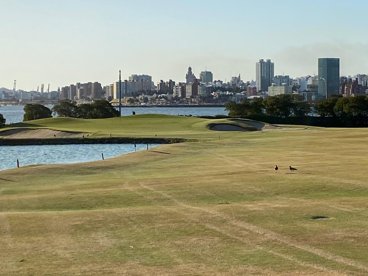 CdG del Uruguay, Loch 14 mit Blick auf die Altstadt Montevideo
