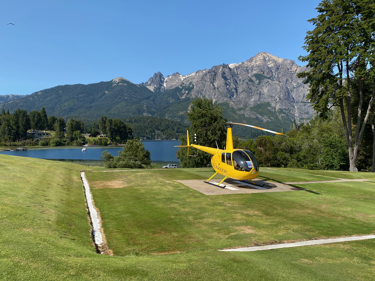 Der Helikopter Landeplatz an Loch 4.